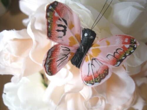 Small Patterned Pale Pink Feather Butterfly Set of 2 5.0cm wingspan