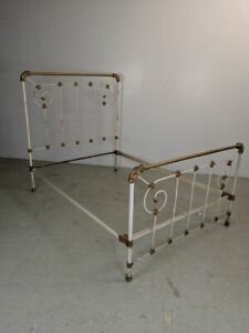 Antique Full French Cast Iron Metal Bed Frame W Rails Full Size