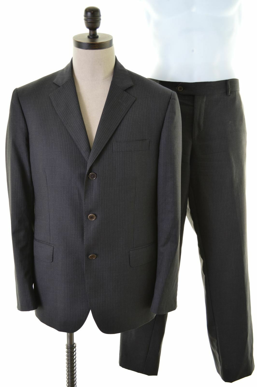 GF FERRE Mens 3 Button 2 Piece Suit Size 42 Large W36 L31 Grey Stripes Wool