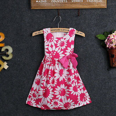 Age 2-7Y Rose Baby Kids Girls Princess Party Bow One-piece Dress Free Shipping