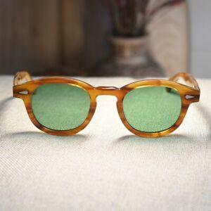 1960's Vintage Acetate Johnny Depp Sunglasses Green Solid Glasses K13TlJcF