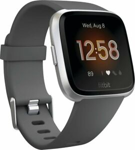 Fitbit FB415SRGY Versa Lite Edition Smartwatch Silver with Charcoal Silicone