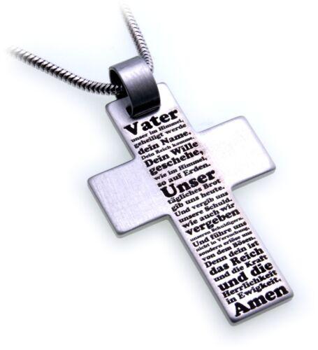 Colgante cruz de acero inoxidable Oración Padre nuestro Adamo made in Germany nuevo