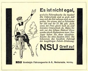 NSU-velo-Publicite-DE-1927-velo-de-course-Neckarsulm-Bicycle-Publicite-Ad