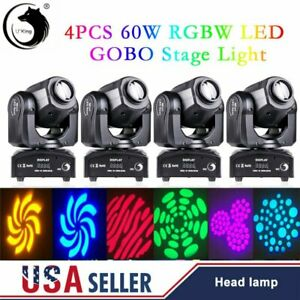 4PCS 60W RGBW LED Moving Head Stage Light Beam Pattern Gobo Lamp DMX Disco Party