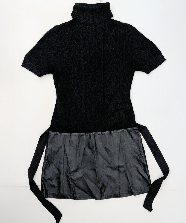 schwarz Sweater Mini Dress damen L Wool Leather SS San Sans Rosary Drop Waist