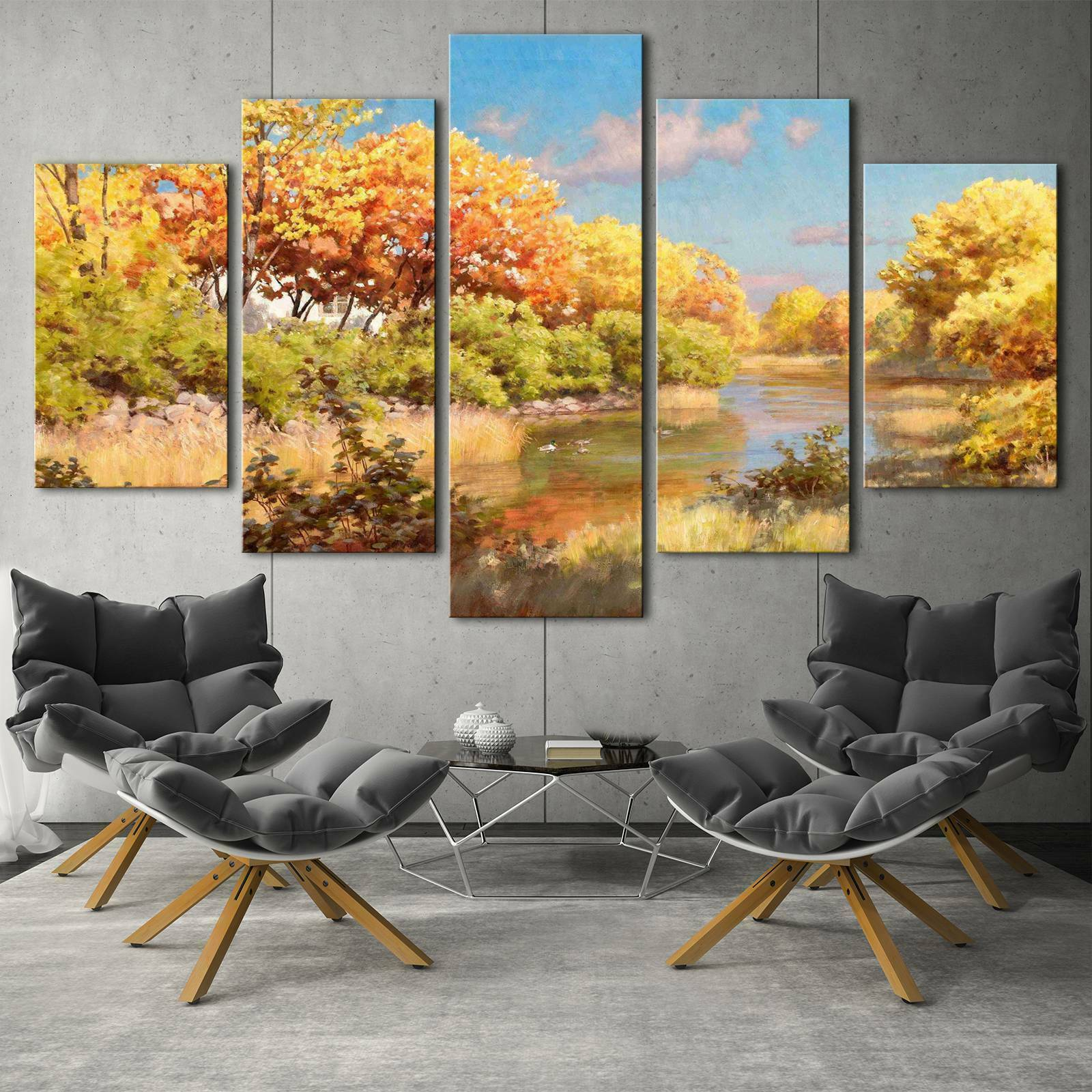 Autumn Tree and River Paint HD Poster Canvas Wall Decor Home Decor Canvas Print