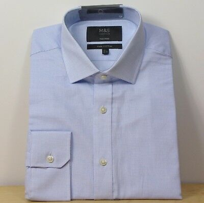 """M/&S Mens Pale Pink Pure Cotton Tailored Fit Shirt Collar Size 15"""" BNWT"""