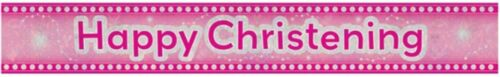 Baby Girls 2.7 m Happy Christening Holographic Banner Pink