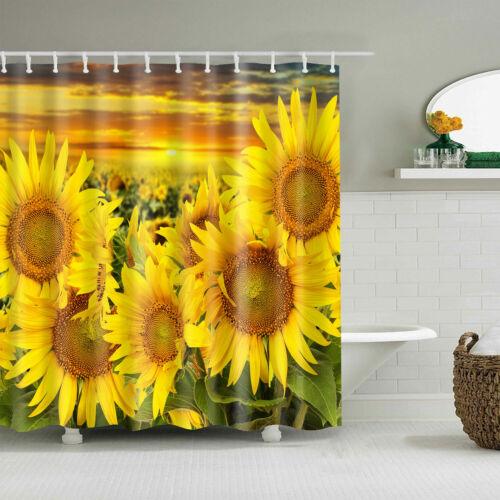 Waterproof Shower Curtain Art Sunflower Poster Printed Bathroom Decor 71*71inch