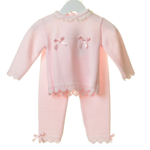 Baby Girls Pink Spanish Romany Soft Knitted Trousers and Frilly Collared Top