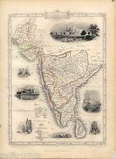 Indien - Sri Lanka - Southern India - Ceylon - Karte-Map-Tallis & Co. 1850