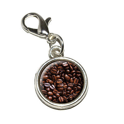 Coffee Beans - Antiqued Bracelet Pendant Zipper Pull Charm with Lobster Clasp