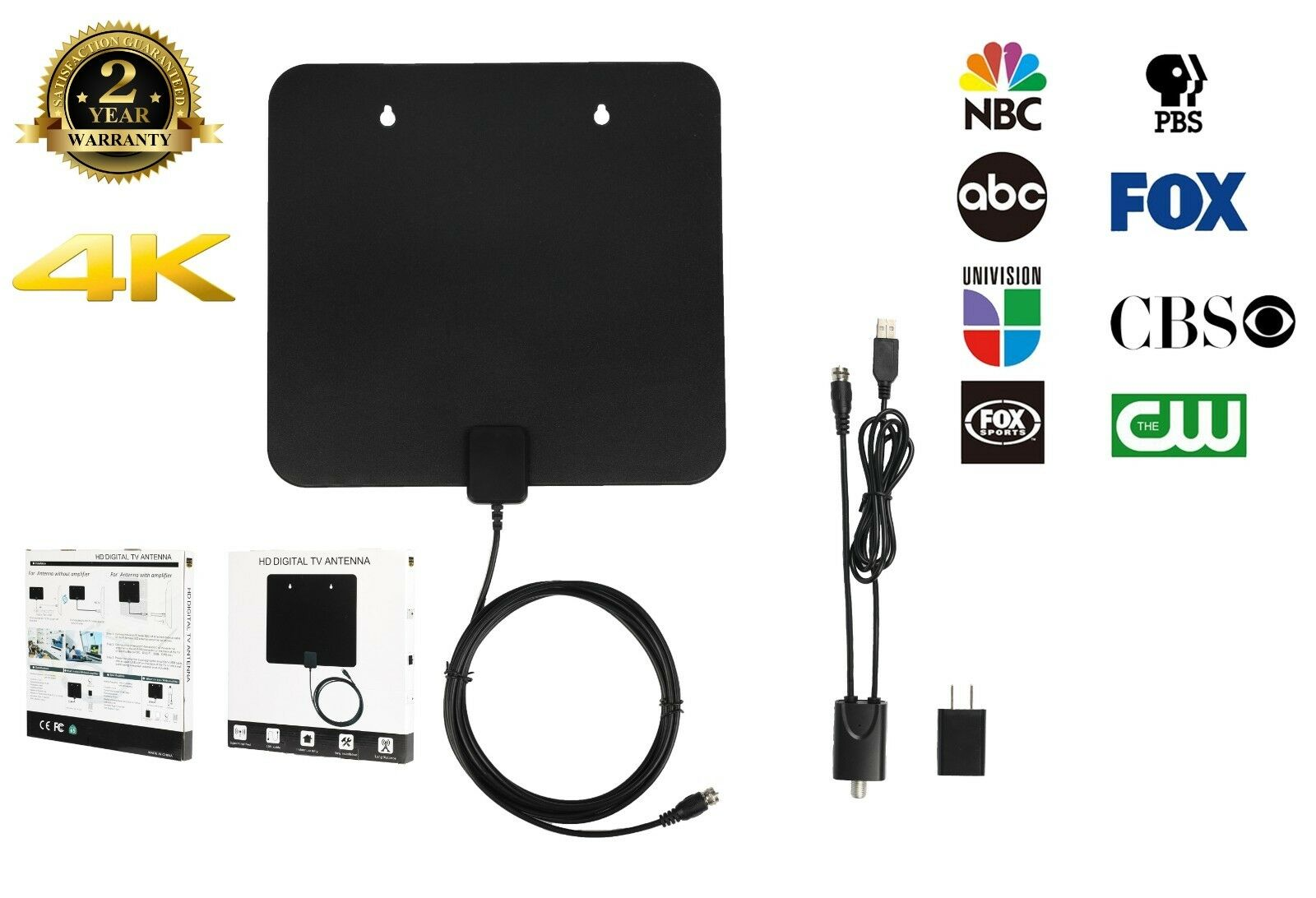 Facon [50 Mile] Super Slim Flat Indoor HDTV Amplified HDTV Antenna 10FT Coax. Available Now for 16.88