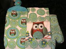 OWLS #H~LOT OF 4~OVEN MITT~2 DISH CLOTHS~1 CROCHET TOP OWL button HANGING TOWEL