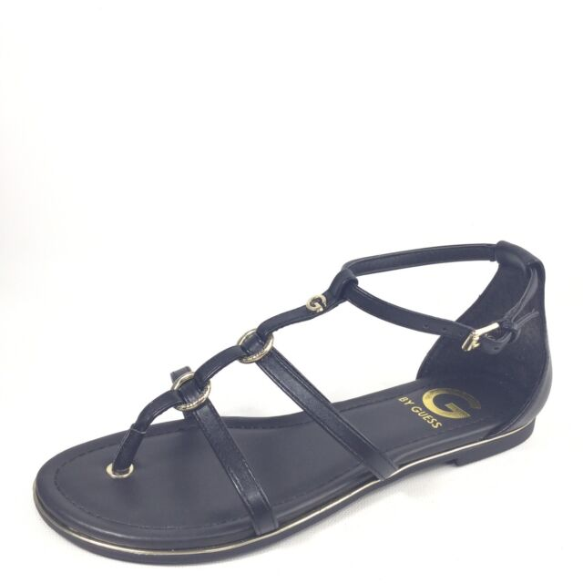 bffab07539514 G by Guess Women s Lessa Chain Flat Sandals Black 7 for sale online ...