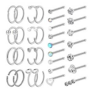 32-Stainless-Steel-Nose-Ring-Hoop-Set-Straight-Rod-Nose-Ear-Studs-Piercing-20G