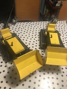 A-Pair-Of-Vintage-1960-039-s-Pressed-Steel-Tonka-Trencher-Toy-Trucks-With-Backhoe
