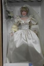 "Franklin Mint Princess Diana Wedding Bride Porcelain Doll 17"" With COA"