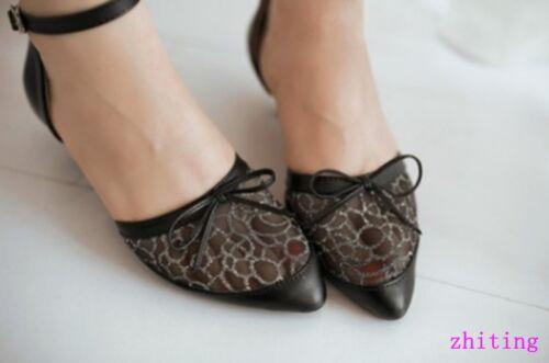 Femmes Dentelle creux Out Maille Bout Pointu faible talons sandale été Bride Cheville Chaussures