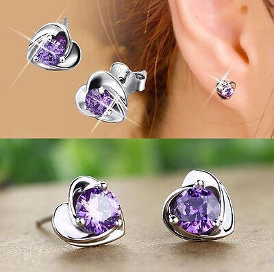 1 Pair Women Lady Elegant Silver Plated Ear Stud Earrings Heart Silver Plated