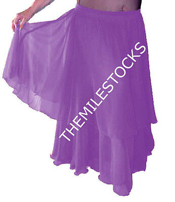 TMS RED Satin 4 Tier Skirts Belly Dance Penal Costume Gypsy Tribal Troup JUPE