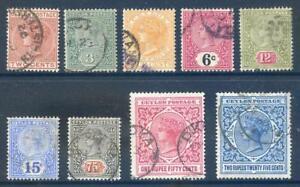 Ceylon-1899-to-1900-Queen-Victoria-set-9-used-2017-11-08-03