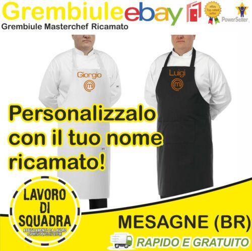 Delantal de Cocina Masterchef Bordado Con Nombre Chef Negro Blanco Unisex Regalo