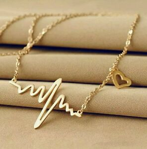 #7014 Wave Heart Necklace Chic Ecg Pulse Gold Plated Charm Pendant Necklace