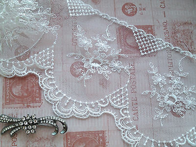 Beautiful Delicate White Embroidered French Tulle Lac12.5 cm Bride Trim