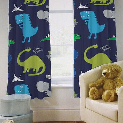 Childrens Kids Curtains Dinosaurs Blue Boys 66 By 54 Tiebacks