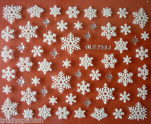 Christmas-Nail-Art-Stickers-Decals-Silver-White-Snowflakes-Stars-Rhinestones-258