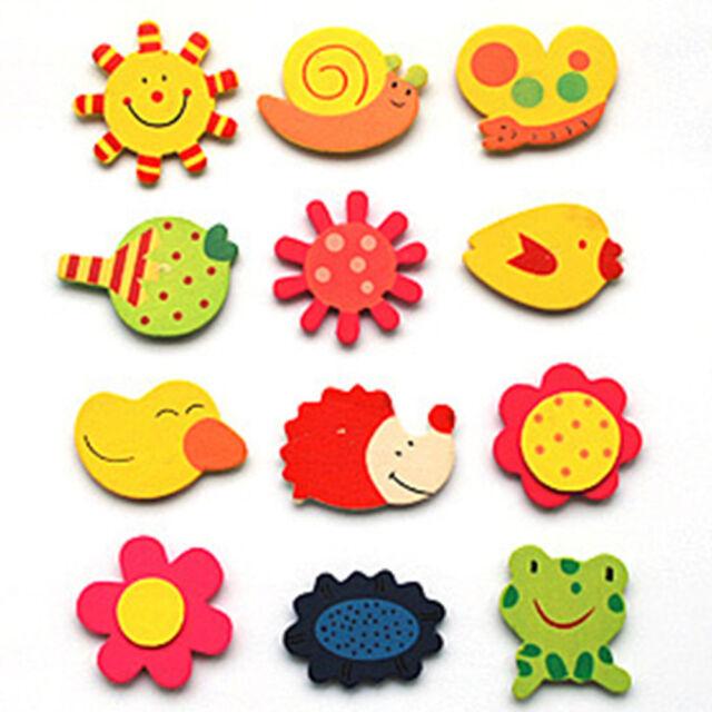12PC Gift Wooden Cartoon Lovely Baby Kid Educational Toy Kitchen Fridge Magnet