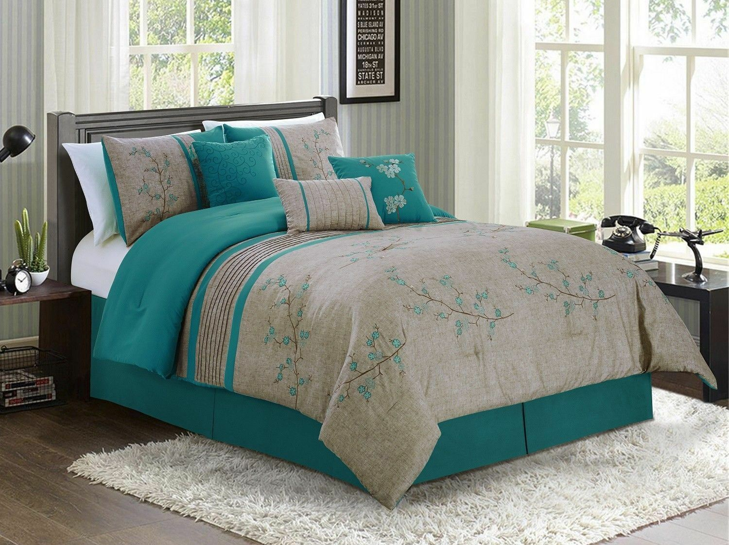Chezmoi Collection 7-piece Teal Cherry Blossoms Floral Embroidery Comforter Set