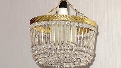 Energisch Alte Messing-glas Stäbchen Kronleuchter, Lüster 1 Flammig