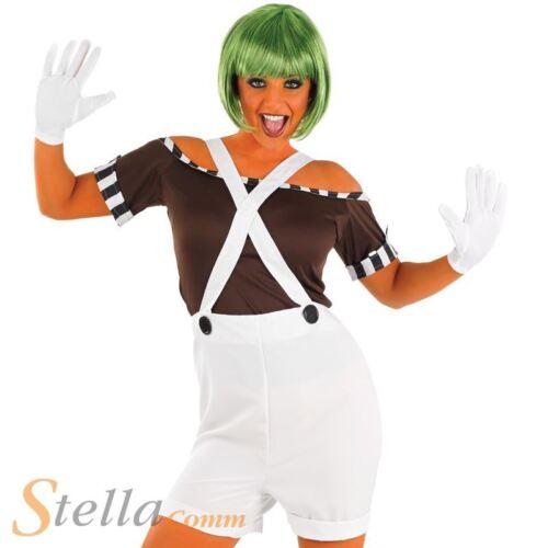 Ladies Oompa Loompa Costume Factory Worker Fancy Dress Book Week Outfit /& Wig