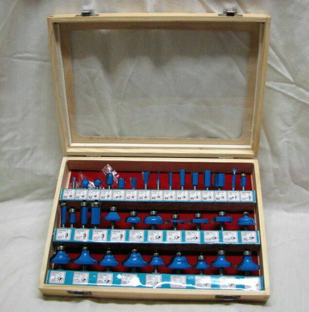 """35 pc 1//4/"""" Shank Router Bit set  Carbide tipped Woodworking tool kit AJ"""