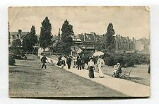 Wandsworth Common Railway Station, path, people - 1905 used London postcard