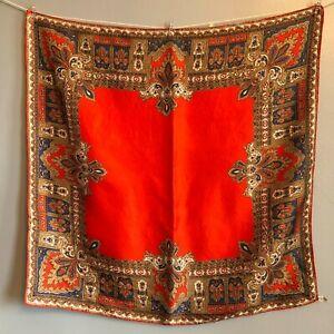 27-034-Vintage-Baar-amp-Beards-Silk-Scarf-Orange-Red-Blue-Venetian-Design-Classic