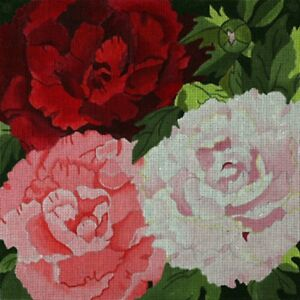 Needlepoint-HandPainted-Dede-PEONIES-Giant-14x14