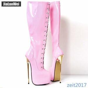 22cm Rosa Nachtclub Damen Stiefel Steel Heels Plateau