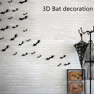 12pcs Halloween Decor 3D Bat Wall Sticker Wall Vinly Decals Home Decor Black