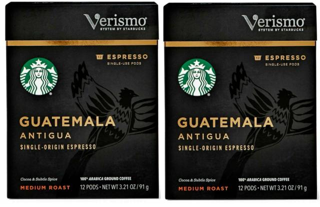 Starbucks Verismo GUATEMALA ANTIGUA Espresso 2 boxes 12x2=24 pods BBD 10/20/2019