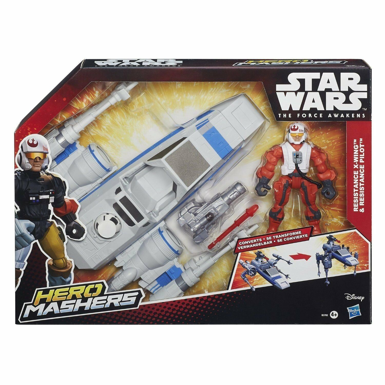 Star Wars Hero Mashers Resistance X-Wing Toy Vehicle & Pilot figure set, awakens