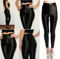 NEW WOMEN'S LADIES FASHION AMERICAN STYLE SHINY DISCO PANTS SIZE 6 8 10 12 14