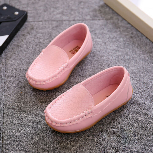 Kids Boys Girls Toddler Slip On Leather Flat Loafers Casual Comfy Boat Shoes US