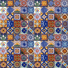 100 Mexican 2x2 Ceramic Tiles Handmade Handpainted Clay Tile set #003