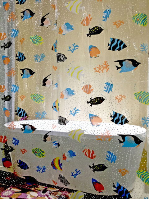 Quality Transparent Shower Curtain Fish Plastic Bathroom 180 X 200cm