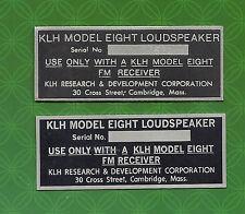 KLH MODEL EIGHT 8 SPEAKER BACK LABEL