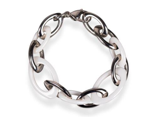 Armband Modell OVAL weiß Keramik Edelstahl Länge 19.5 cm PREMIUM QUALITÄT